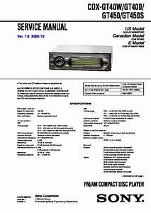 Sony Cdx-gt400  Cdx-gt40w  Cdx-gt450  Cdx-gt450s Service Manual