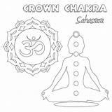 Chakra Coloring Crown Kleurplaat Printable Depositphotos sketch template