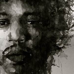 Hendrix black n white painting by paul lovering