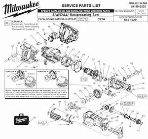 Milwaukee 6519-30 Parts List And Diagram