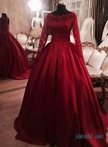 red burgundy colored long sleeves satin ball gown wedding With burgundy wedding dresses