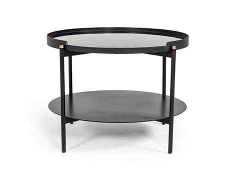 23.5l x 43.5w x 1/5h space between legs: Modrest Randal Modern Round Black Metal Coffee Table - Coffee Tables - Living Room