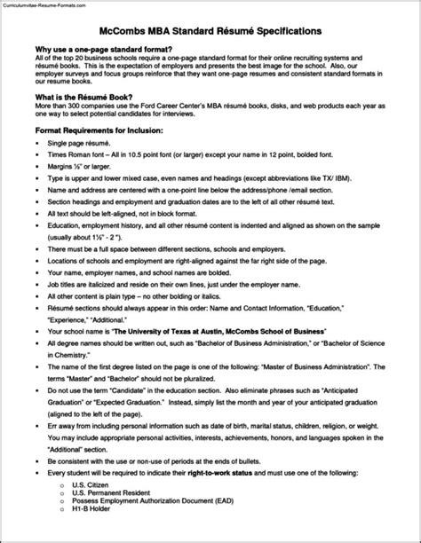Standard Resume Template by Resume Template Standard Free Sles Exles