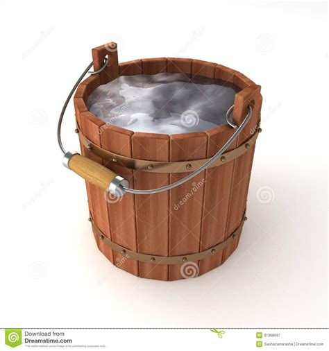 5 gallon buckets wooden of water on white background stock