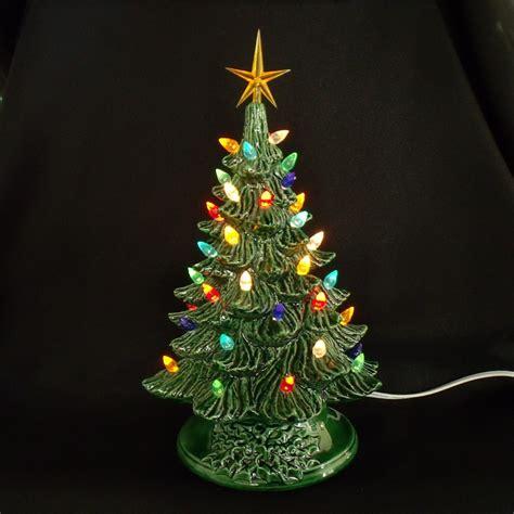 green ceramic christmas tree with lights vintage style ceramic christmas tree 11 inches lights