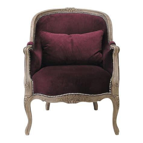 fauteuil en velours prune montpensier maisons du monde