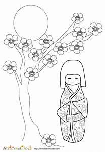 Maison Japonaise Dessin : coloriage d 39 une poup e japonaise et fleurs de pecher t te modeler ~ Melissatoandfro.com Idées de Décoration