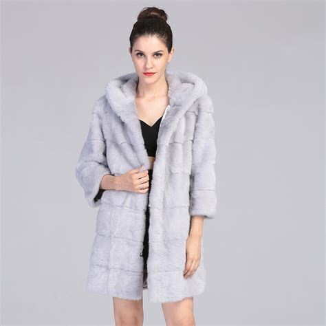 light grey long coat aaa real mink fur coat with hood for women light grey long