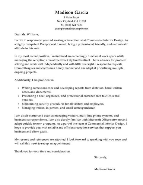 Cover Letters For Receptionist by Cover Letter Template Receptionist Cover