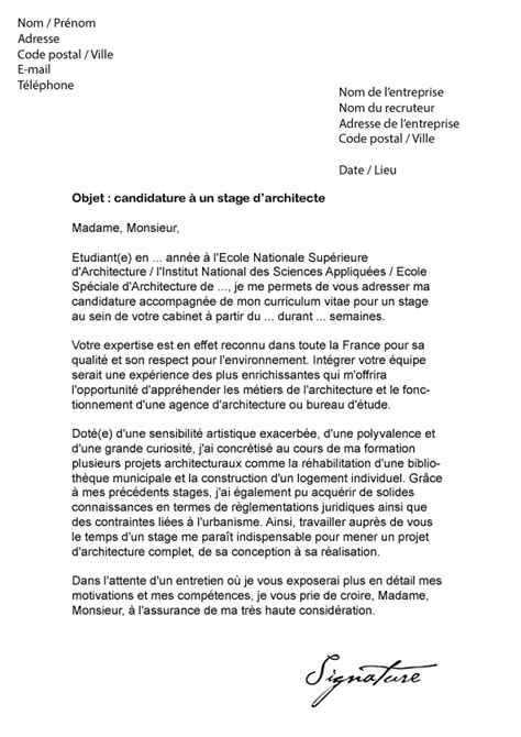 lettre de motivation stage architecte mod 232 le de lettre