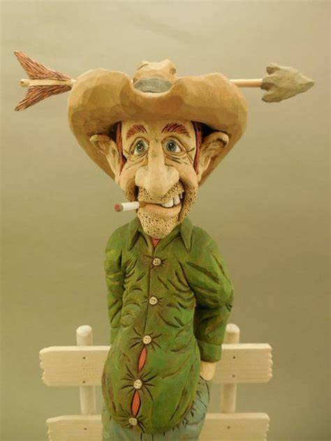 hand carved wood cowboy caricature time