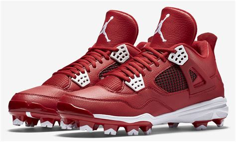 air jordan  red white black cleats sneaker bar detroit