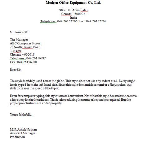 block style letter styles format business letter okhtablog
