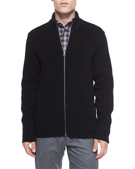 zip sweater mens theory lacham ribbed zip up sweater in black for lyst