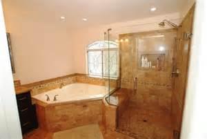 corner tub bathroom ideas corner tub shower seat master bathroom reconfiguration yorba linda traditional bathroom