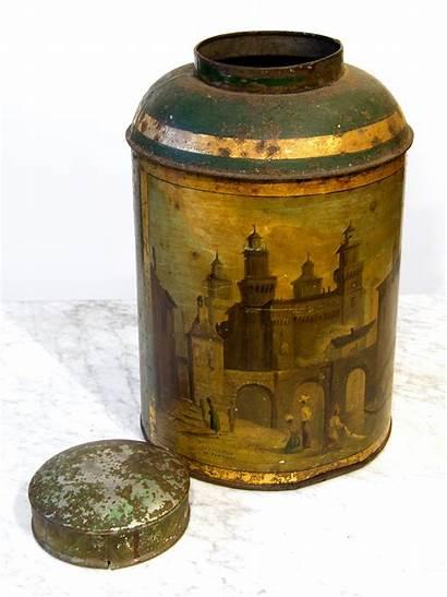 Tea Tin Canister Antique Victorian Historic Furniture
