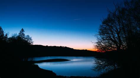 Download Wallpaper 1920x1080 Lake Trees Sunset Night