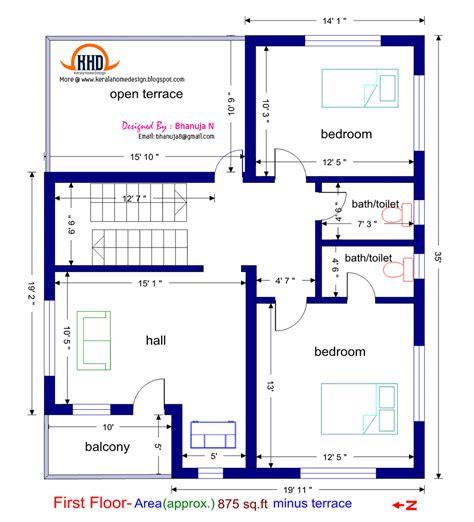 design plans floor plan and elevation of 1925 sq feet villa house design plans