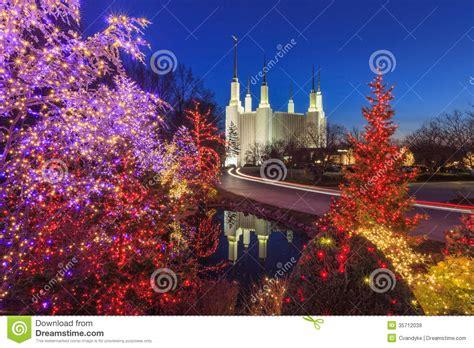 washington dc christmas lights holiday lights at washington dc lds mormon temple stock