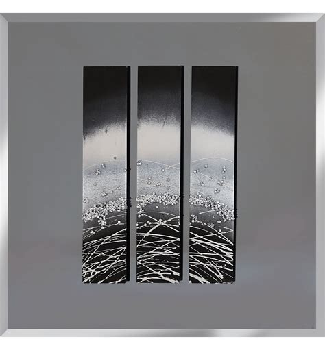 abstract triptych smoked grey mirrored wall art cm  cm