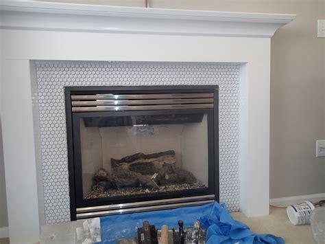 fireplace mantel makeover installing tile rag and