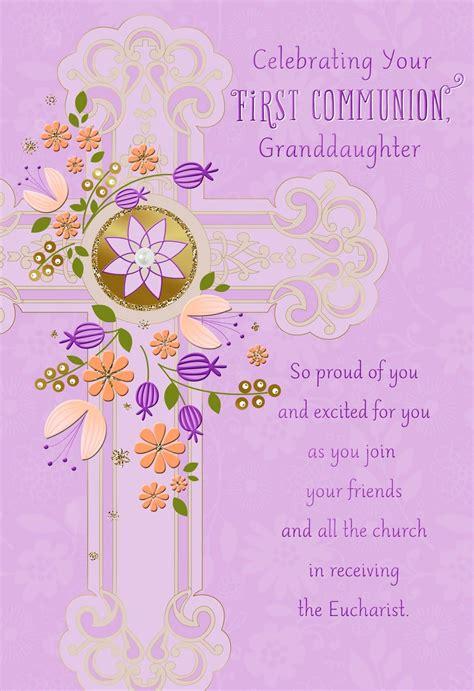 purple flowers  cross  communion card