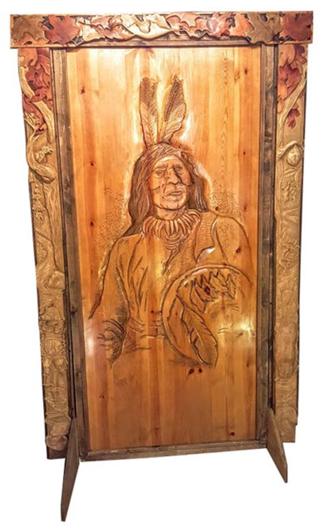 door valence  surround hand carved wood rustic
