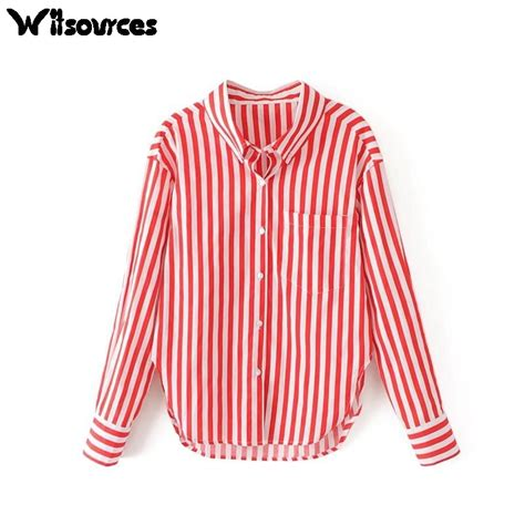 witsources women striped blouse   loose red white