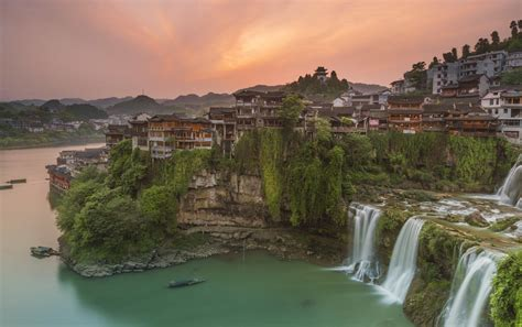 furong zhen waterfall furong zhen china attractions