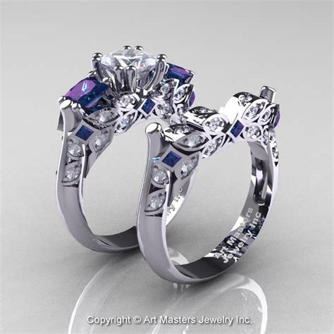 classic  white gold  stone princess white sapphire