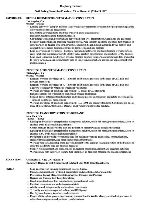 Business Consultant Resume by Business Transformation Consultant Resume Sles Velvet