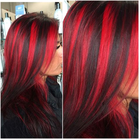 Chunky Red Highlights By Hairbyangelaalberici Long Island