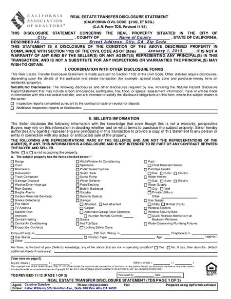 tds real estate transfer disclosure statement