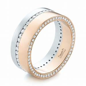 custom two tone rose gold and platinum diamond men39s band With mens platinum diamond wedding rings