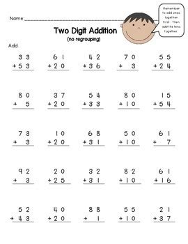 2 digits addition with decimal 2 digit addition no regrouping worksheet freebie by