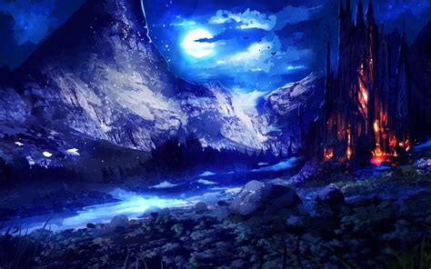 blue landscape fantasy night wallpaper