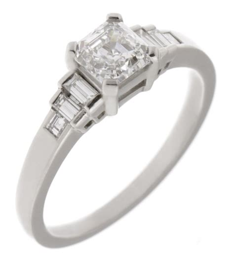 deco asscher cut and baguette engagement ring