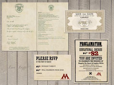 wedding invitation set harry potter save  date