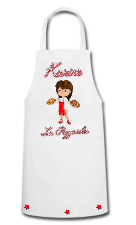 tablier femme cuisine tablier de cuisine femme pizza pizzaiola personnalisé avec