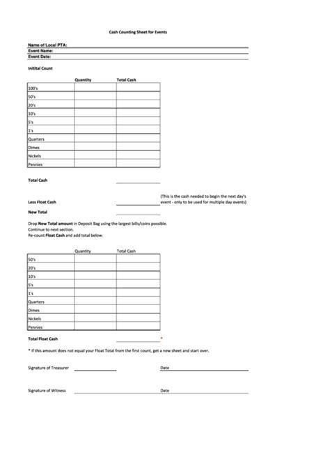 cash counting sheet   printable
