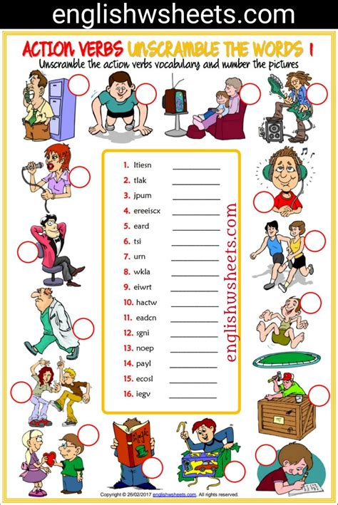 Action Verbs Esl Printable Unscramble The Words Worksheets For Kids #action #verbs #actionverbs