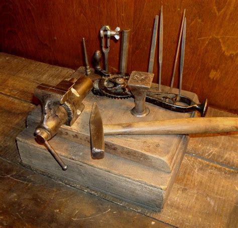 vintage jewelers blacksmith anvil vise hammer tool lot