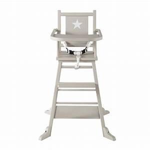 Chaise Haute Pour Bb En Bois Taupe Pastel Maisons Du Monde