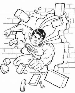 Superman Flying Through Wall Coloring Pages | Coloring ...