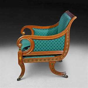 Regency, Period, Decorated, U0026, Gilt, Library, Chair