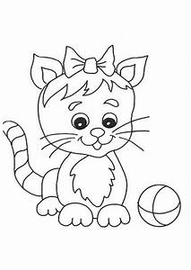 Cute Cat With Ball Coloring