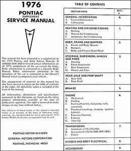 1976 Pontiac Repair Shop Manual Original Supplement