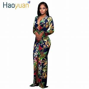 HAOYUAN Sexy Maxi Dress 2017 Women Split Long Sleeve Print ...