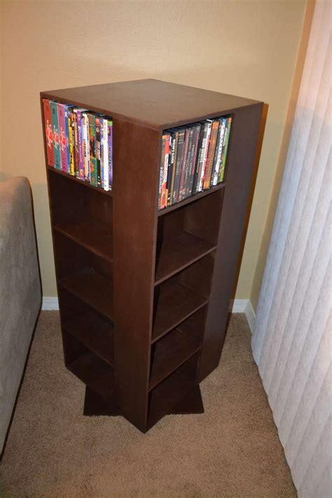 diy spinning dvd rack  table diy dvd storage dvd
