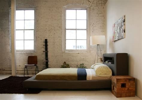 Rustic Modern Low Profile King Bed Frame With Leather